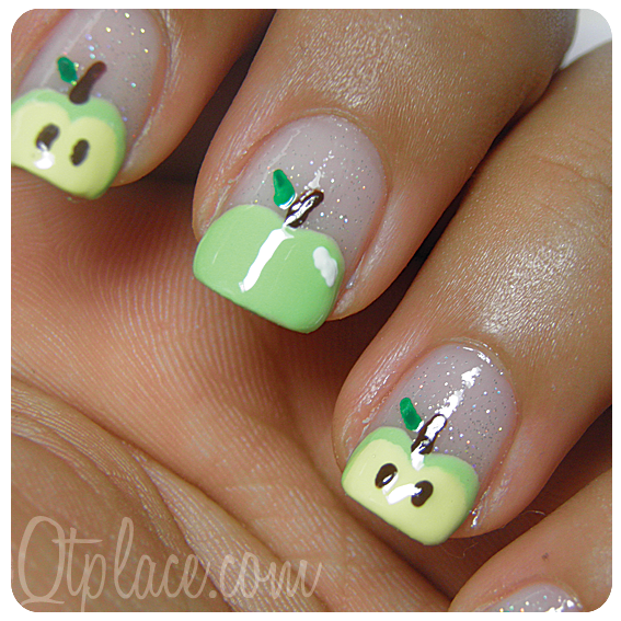 Oh My Gosh I Love These Apple Nail Art Tutorial Qtplace Uas