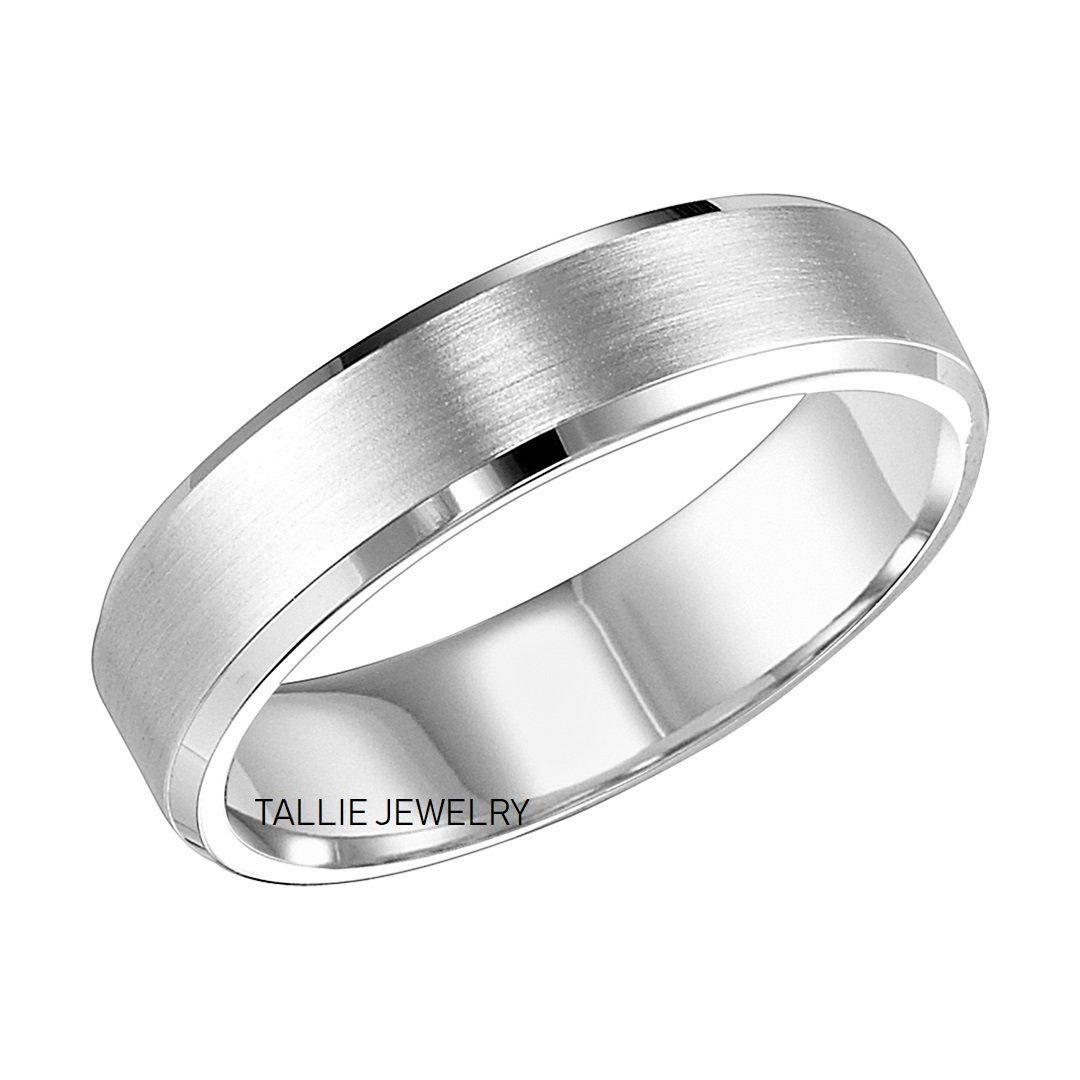 6mm 14k Solid White Gold Wedding Bands Satin Finish Beveled Etsy In 2020 Mens Wedding Rings White Gold Mens Wedding Bands White Gold Mens Gold Wedding Band