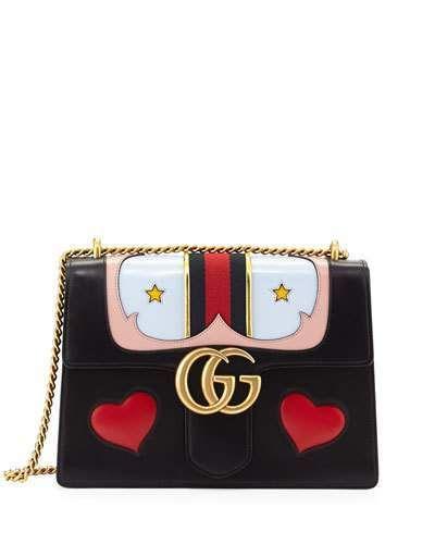 9c13d9f33a527c Gucci GG Marmont Medium Web Heart Shoulder Bag, Black/Multi | Gucci ...