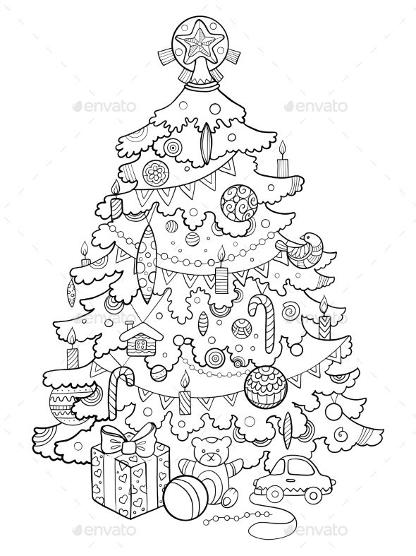 Christmas tree cartoon coloring book vector illustration | Graphics ...