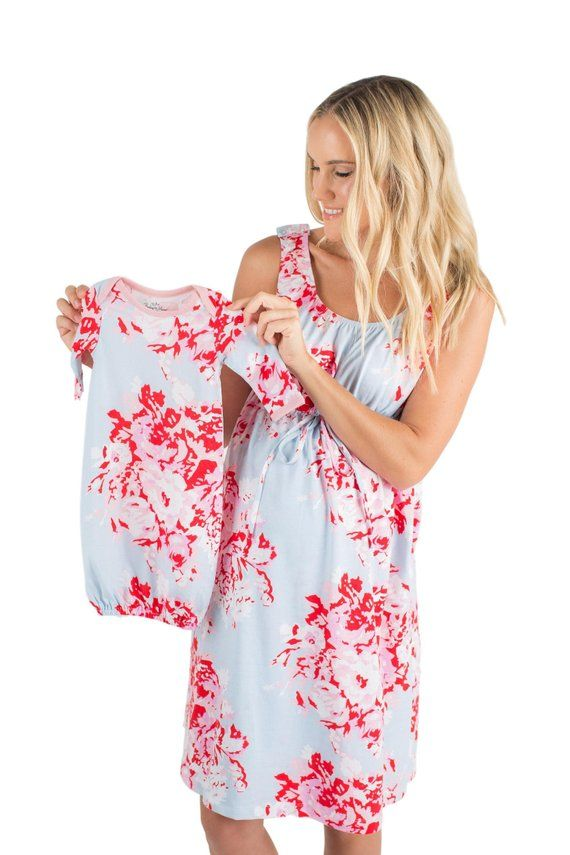962a988538 3 PC Set -Mae Floral Maternity Labor   Delivery Nursing Birthing Hospital  Gown 3 in 1 Baby Be Mine a