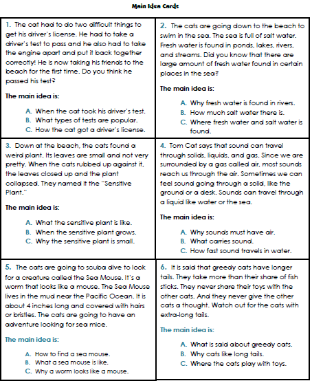 Main Idea Worksheets 3rd Grade #1 | Reading | Worksheets, Main idea ...