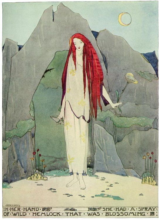 """Jessie M. King. 'In Her Hand She Had a Spray of Wild Hemlock that was Blossoming' from """"The Fisherman and His Soul"""" (A House of Pomegranates) by Oscar Wilde."""