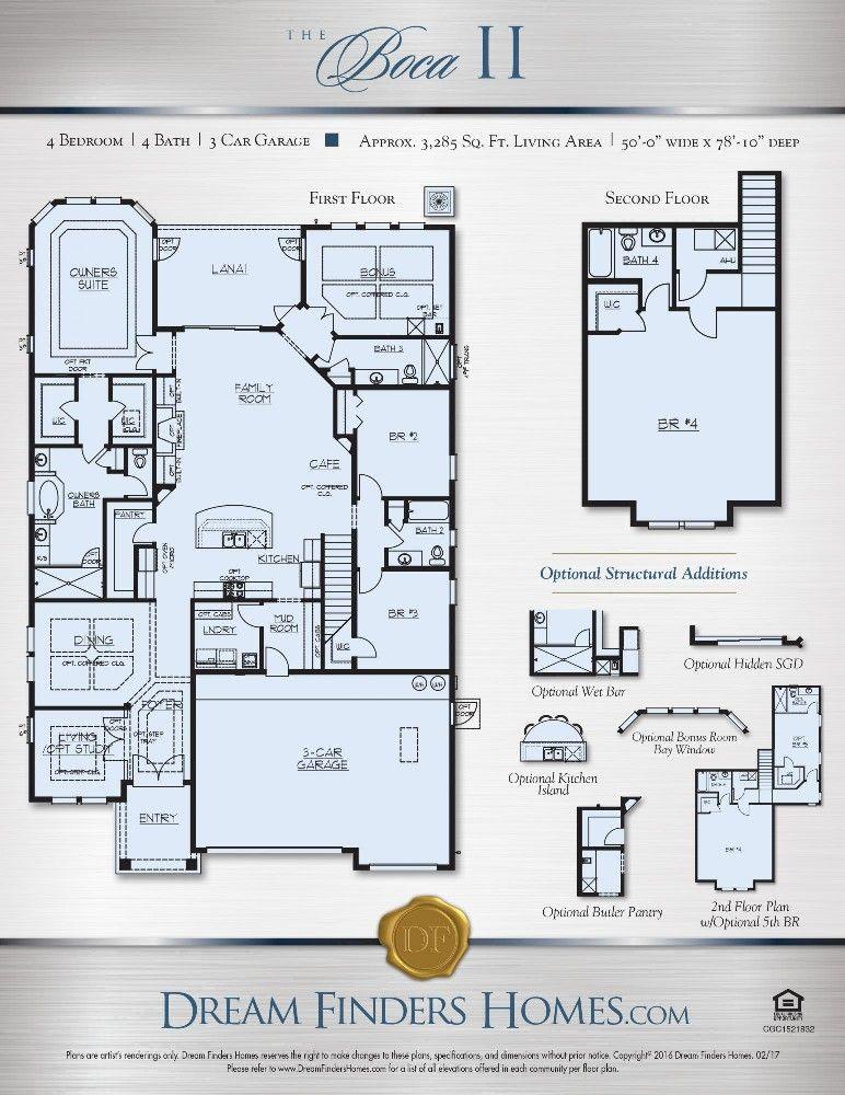 Dreamfinders Boca II floor plan our new house Pinterest House - home building cost estimate spreadsheet