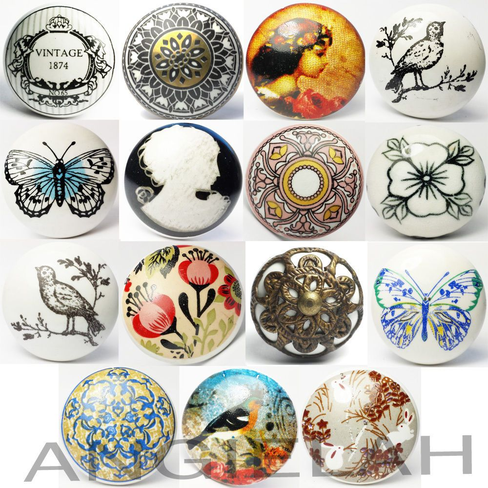 Antique door pulls knobs - Vintage Ceramic Door Knobs Mix Match Shabby Chic Handles Boho Cupboard Drawer