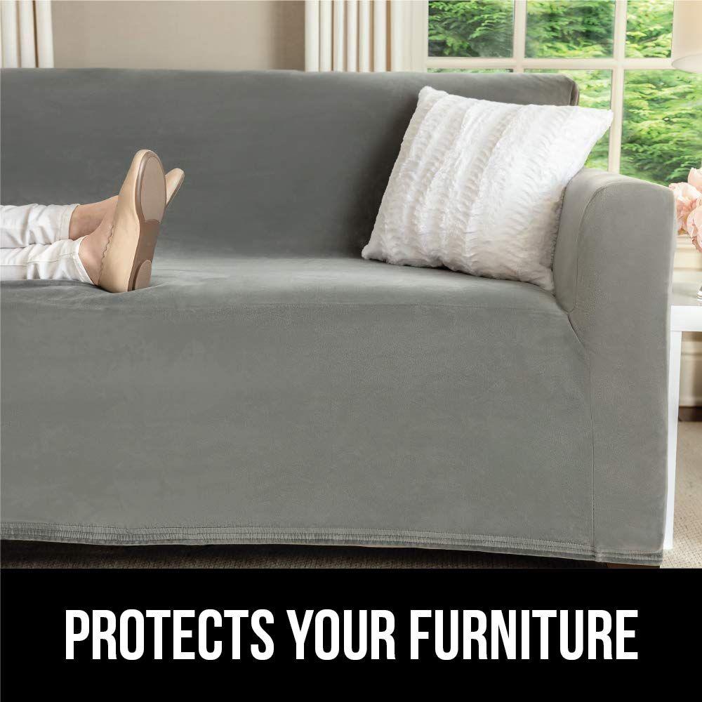 Magnificent Gorilla Grip Original Velvet Fitted 1 Piece Sofa Slipcover Andrewgaddart Wooden Chair Designs For Living Room Andrewgaddartcom