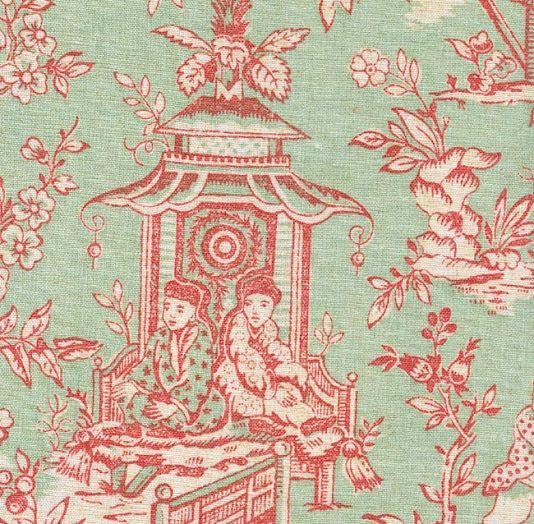 Toile de jouy fabric in soft green and raspberry Ideas Pinterest - telas para cortinas