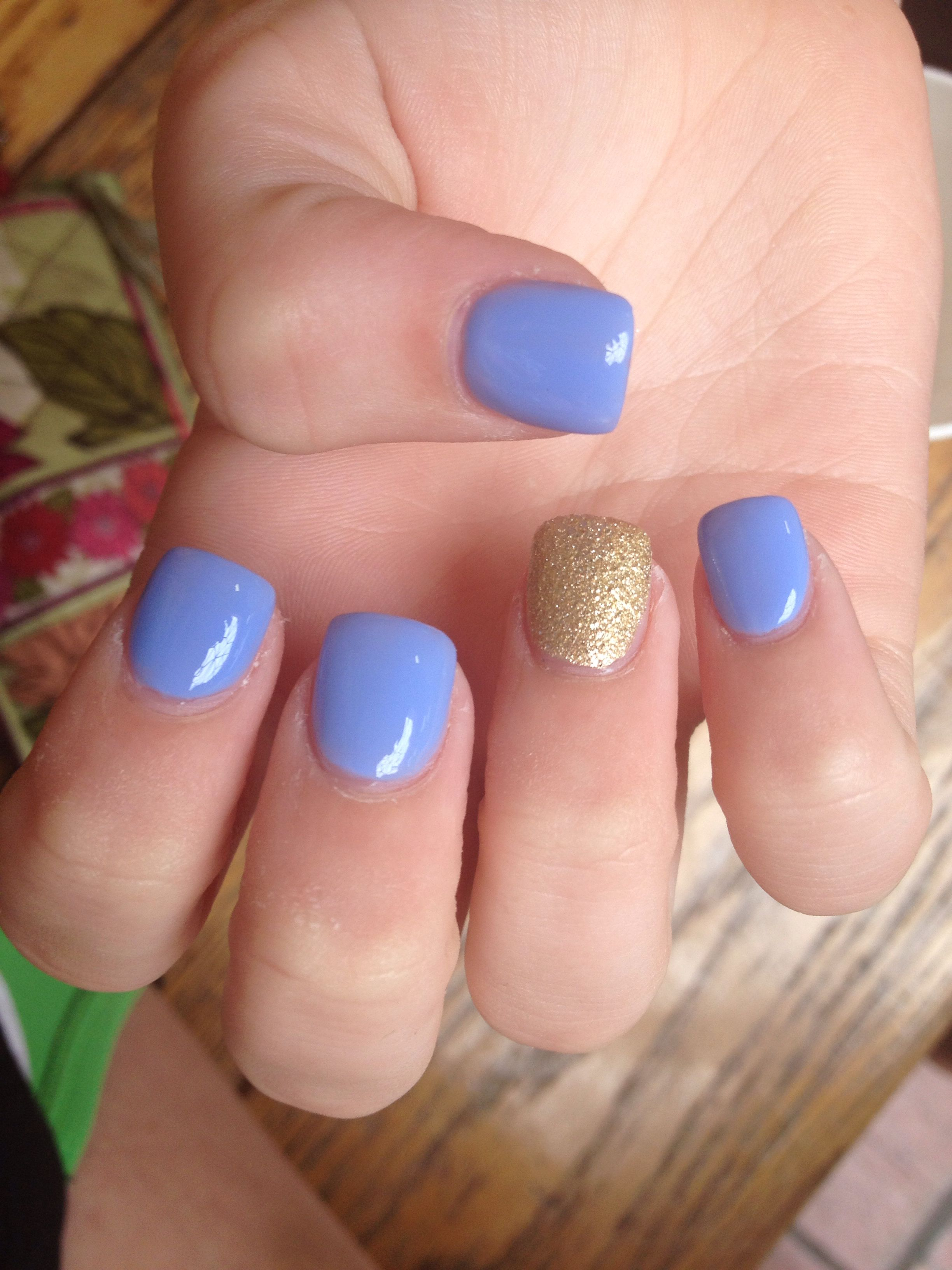 Periwinkle and gold short acrylics | Nails | Nails ...