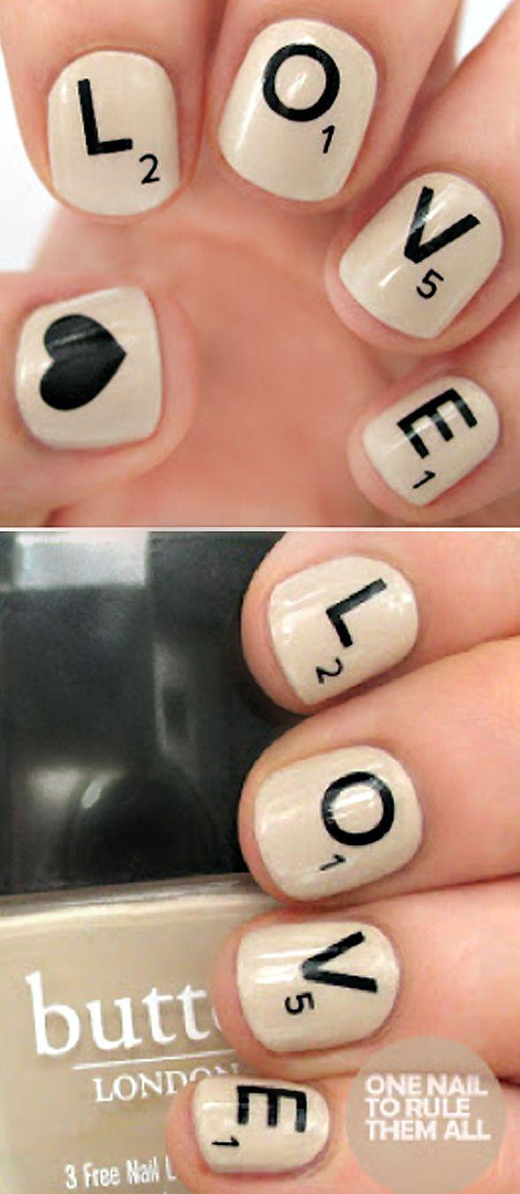 Scrabble Inspired Nail Art Fingernail Art Pinterest Scrabble