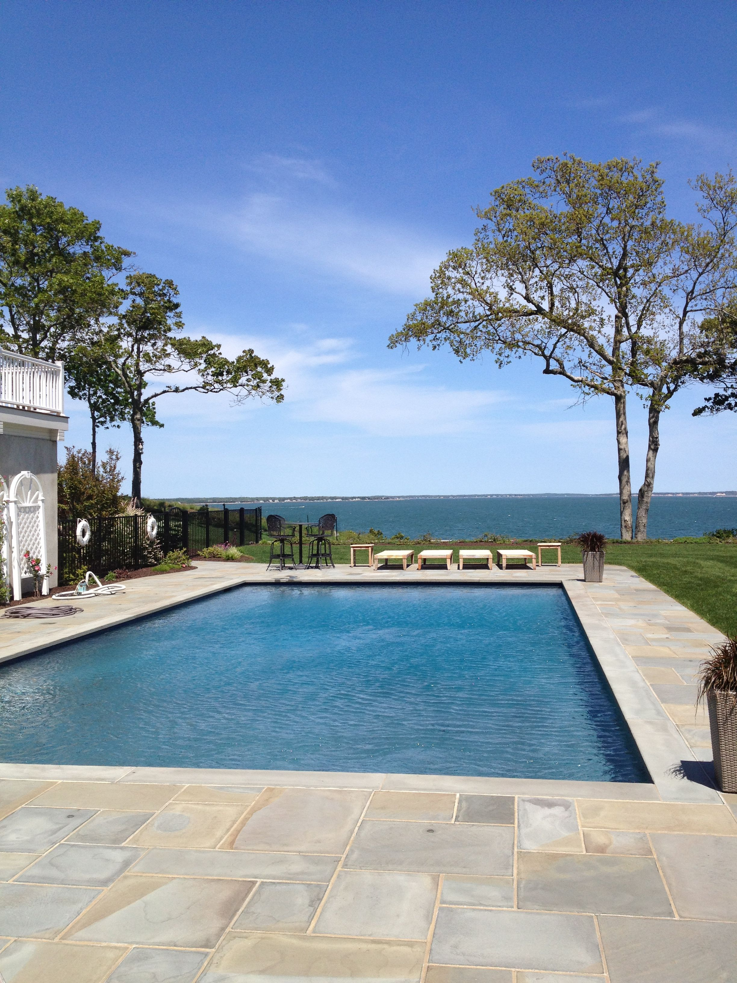 salt water pool design. Salt Water Pool With Gunite Finish And A Bench Along Shallow End For Sitting Views Of Design
