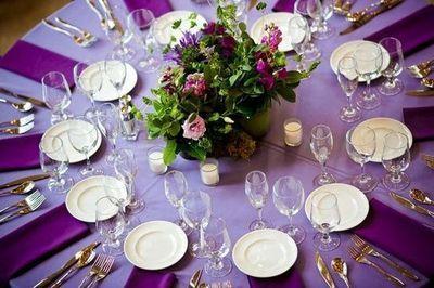 Purple wedding table decor | Wedding table settings, Table settings ...