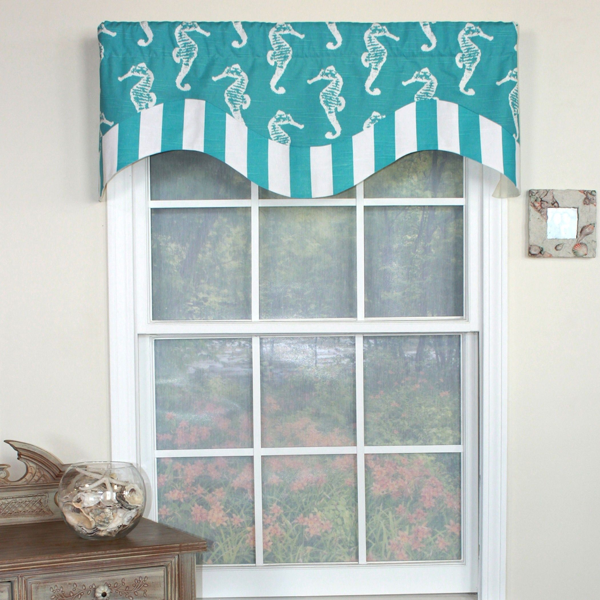 Rlf Home Sea Horse Double Face Window Valance Turquoise 100