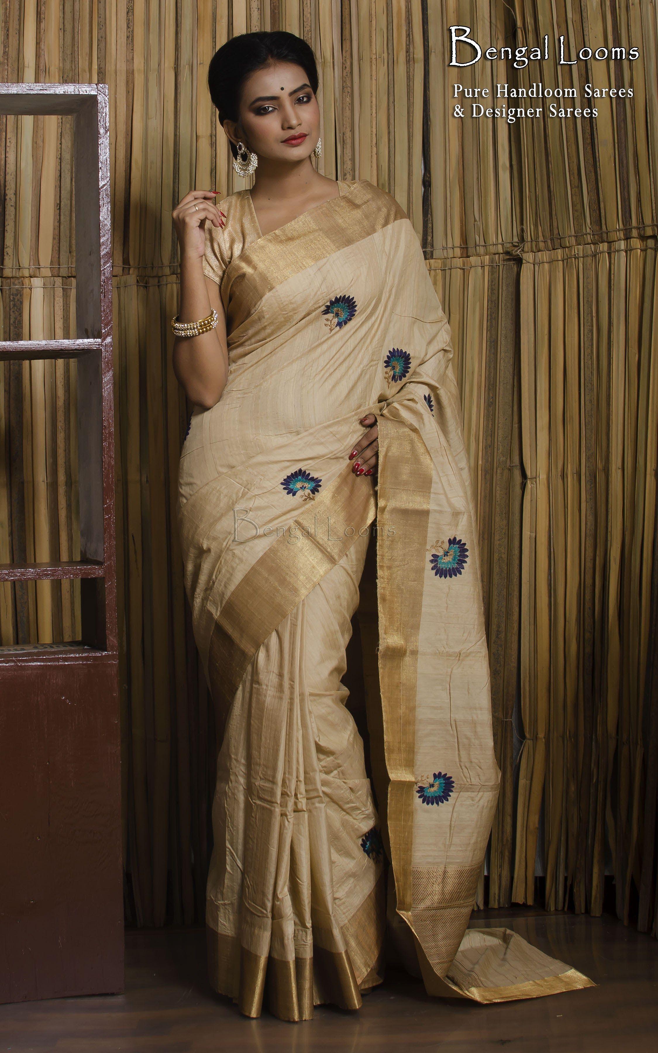 2a031055afe946 Tussar Silk Banarasi Saree