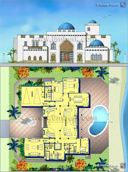 Moroccan Interior Design: ARABIC VILLA (Pencil On Trace / Photoshop) Part 90