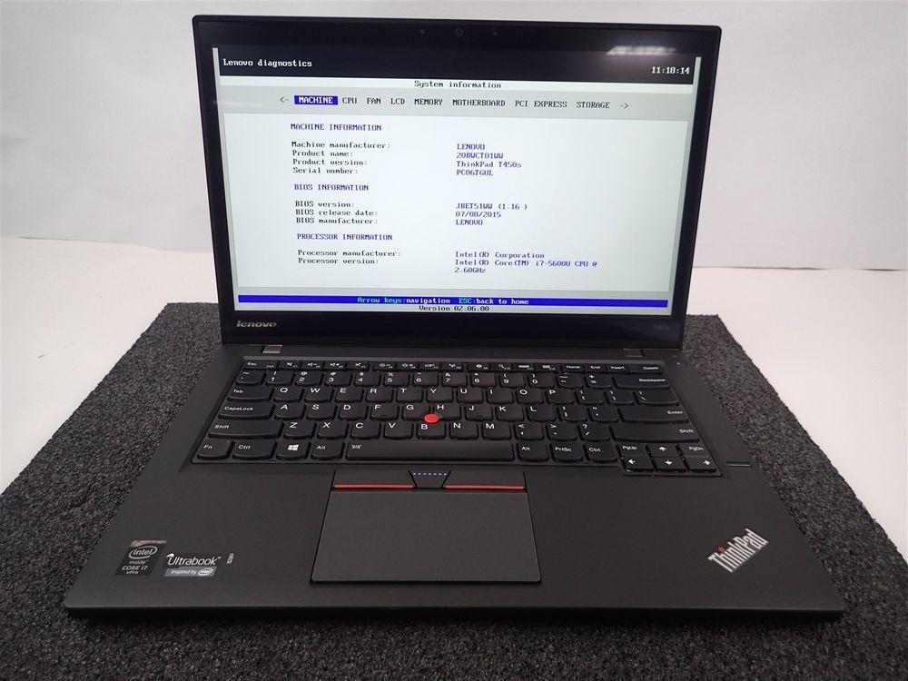 LENOVO THINKPAD T450S TOUCH | CORE I7-5600U 2 6GHZ | 240GB SSD |8GB
