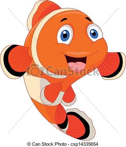 Clipart Vector Of Cute Clown Fish Cartoon Vector Illustration Of