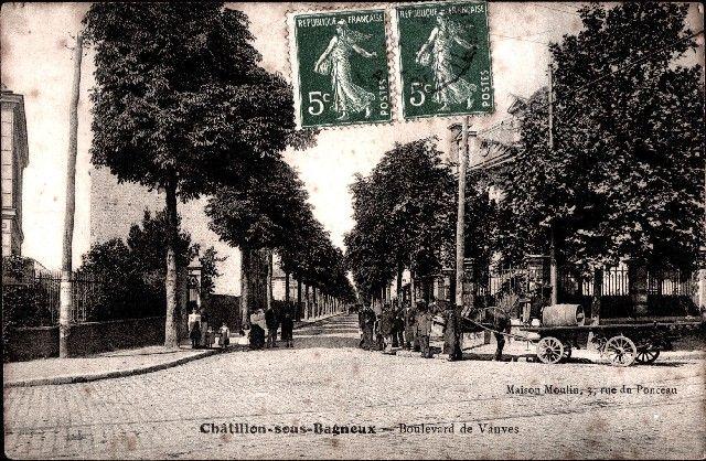 Cartes Postales Anciennes CHATILLON 92 Le Boulevard De Vanves Moulin