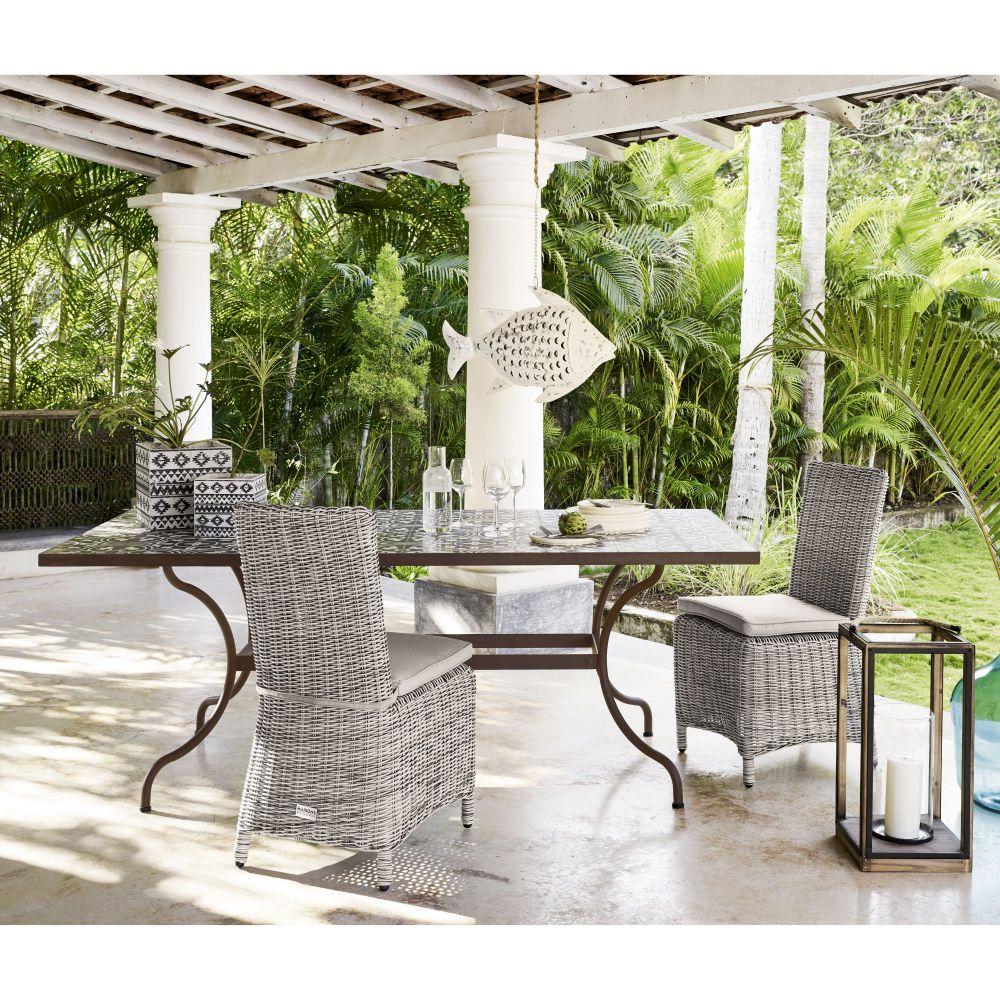 Silla de jard n de resina trenzada gris jenny gentile for Mesa y sillas en resina trenzada barata