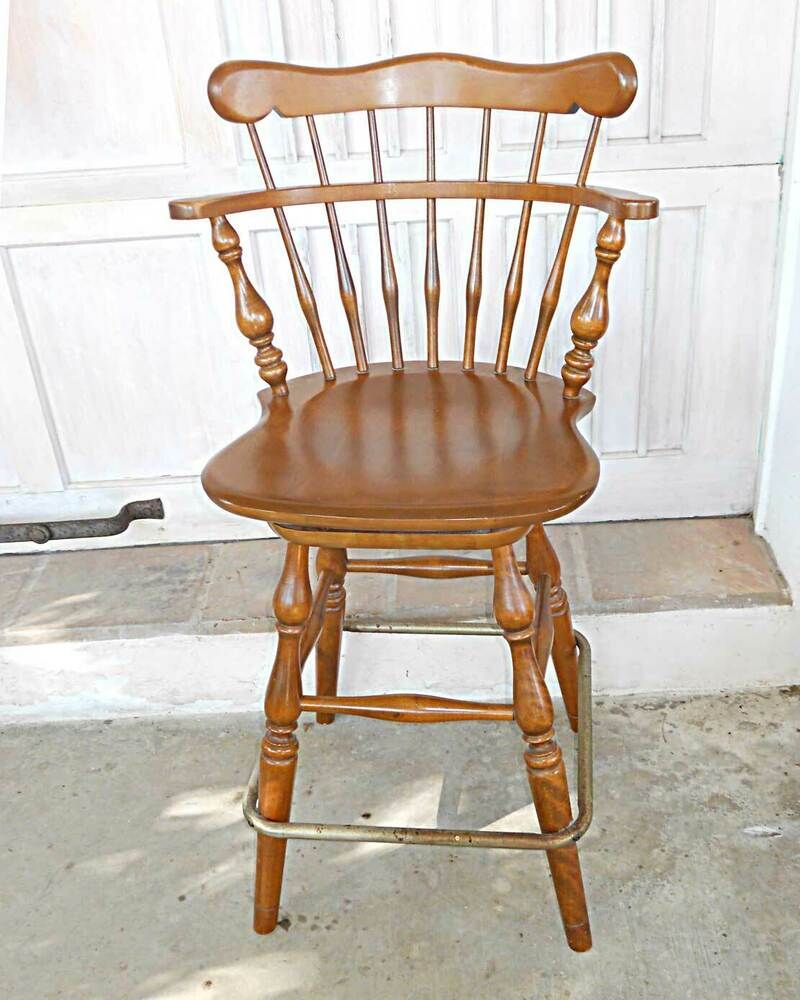 Bar Stool Vintage Ethan Allen Tall Kitchen Counter Heirloom Solid