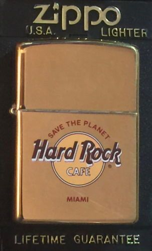 Hard rock cafe miami gold zippo lighter new w red sticker in box stp hrc logo