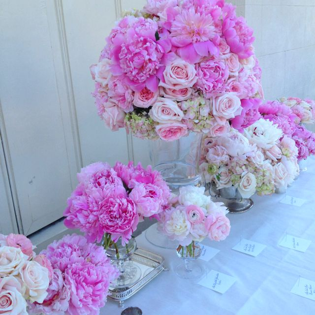 Pink peonies, hydrangea, and roses.  Flowers by Martha Stewart. Wedding at Waterworks, PA
