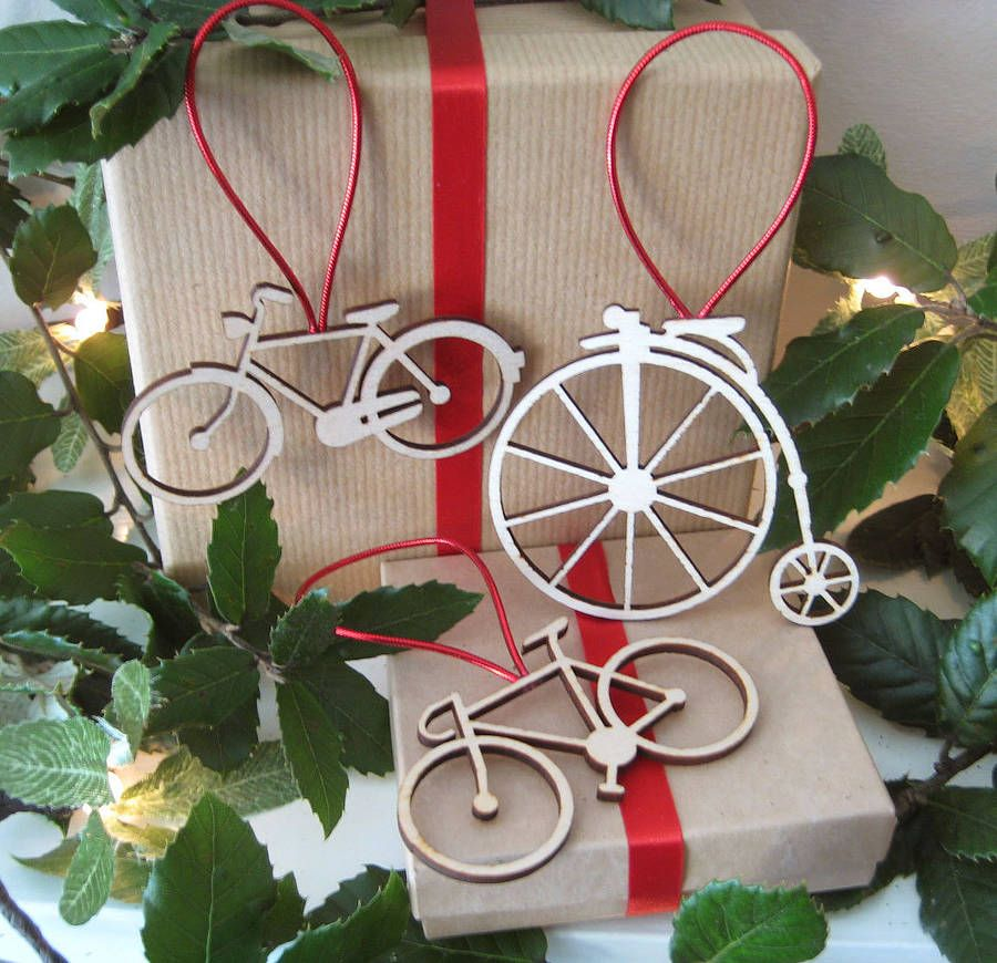 Bicycle Christmas Decorations Set Of Three | Bicycling, Decoration ...