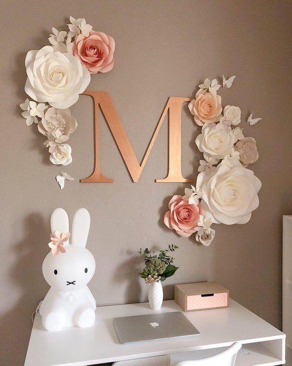 Papier Blumen Wand-Dekor - Kinderzimmer Papier Blumen Dekor - große Papierblumen - Papierblumen für Mädchen Kindergarten - Papier Blumen Dekor
