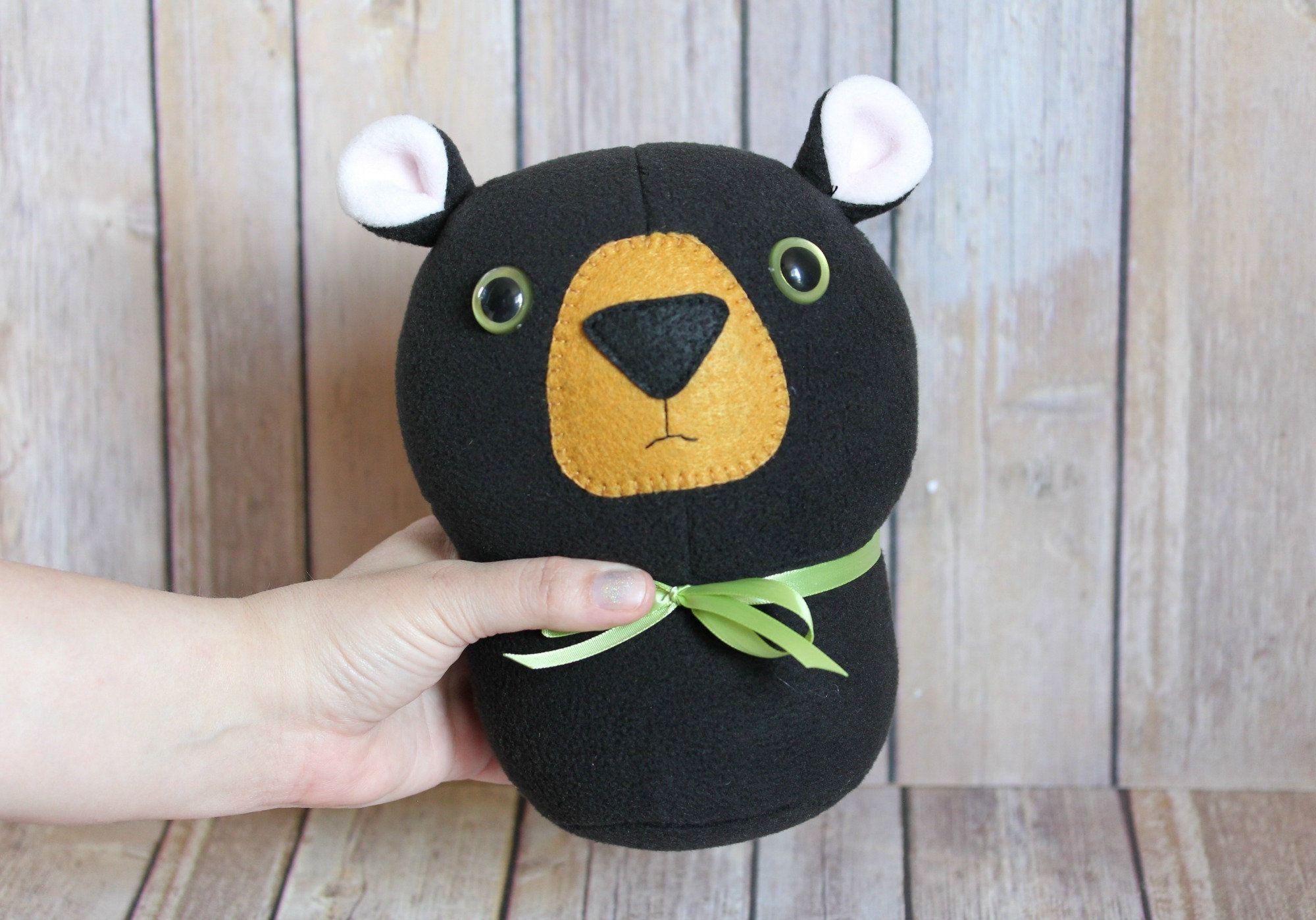 Black Bear Plush Toy, Woodland Kids Room, Black Bear Stuffed Animal