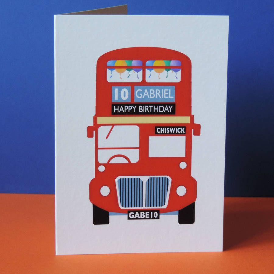 London Bus Birthday Card Birthday Cards Kids Birthday Cards Bus Card