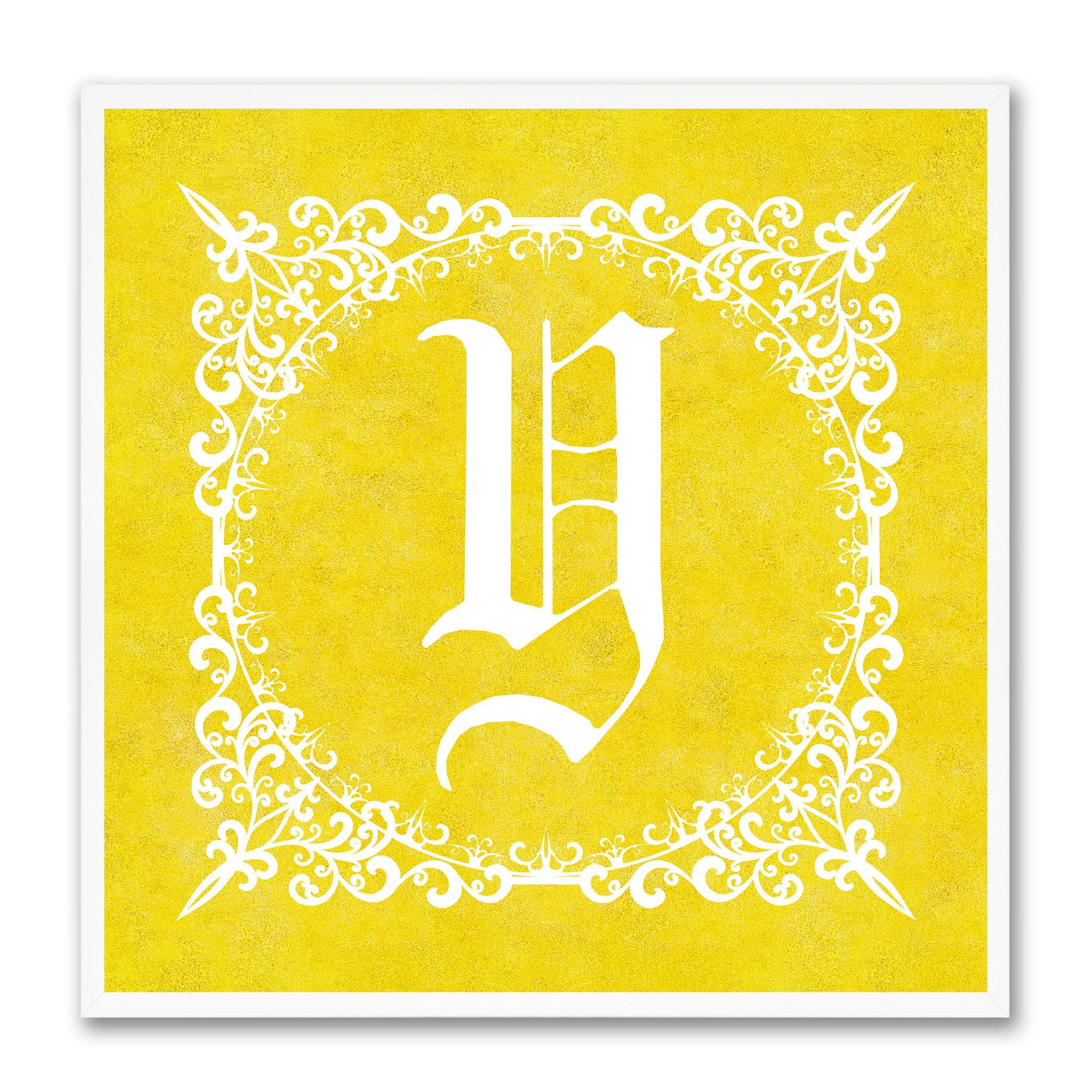 Alphabet Y Yellow Canvas Print White Frame Kids Bedroom Wall Décor ...
