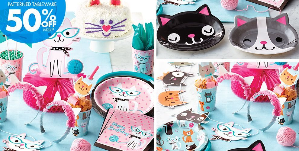 Purrfect Cat Party Supplies , Cat Birthday Party , Party