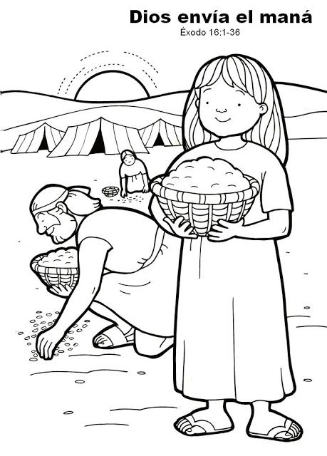 Good manna graphic/coloring page. Color, cut out glue to