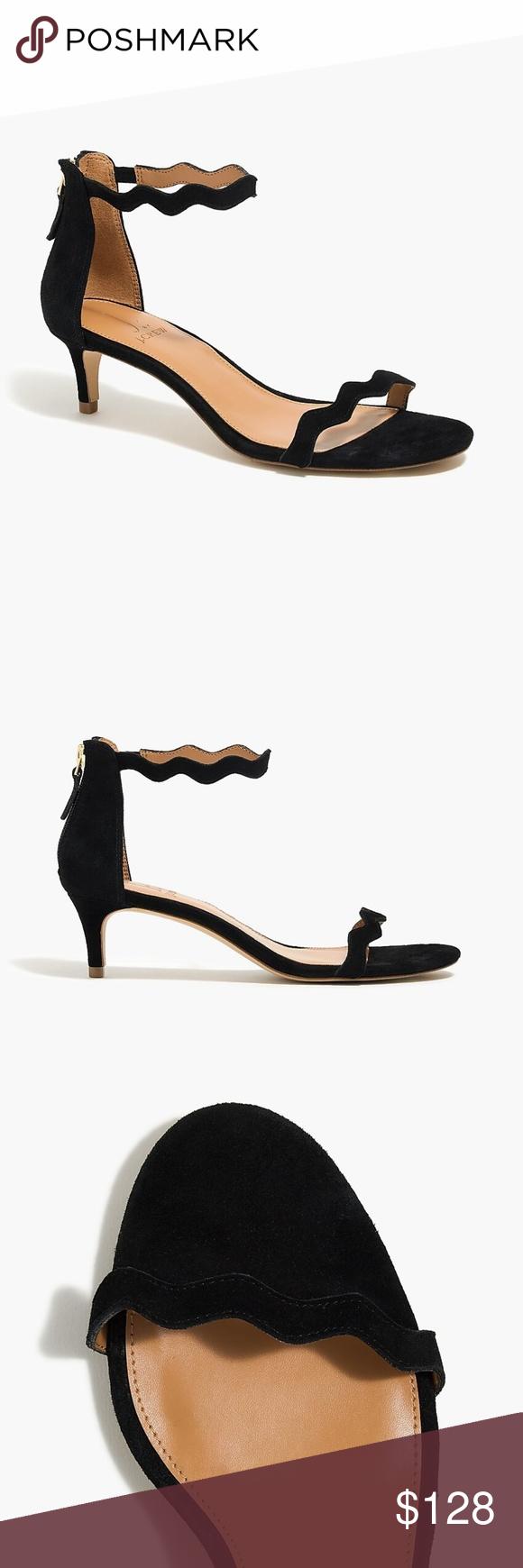J Crew Scalloped Suede Kitten Heels Shoes Women Heels Kitten Heels Heels