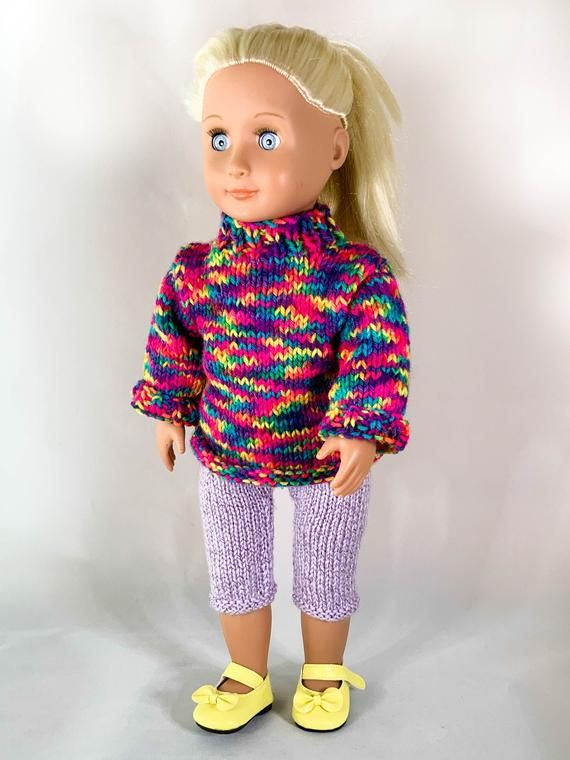 Chunky Knit Jumper and Sparkly Leggings to fit 18 inch doll (Our Generation & American Girl)