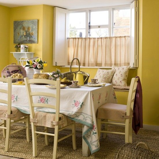 Country cottage style dining | Cottage style, Room and Yellow dining ...