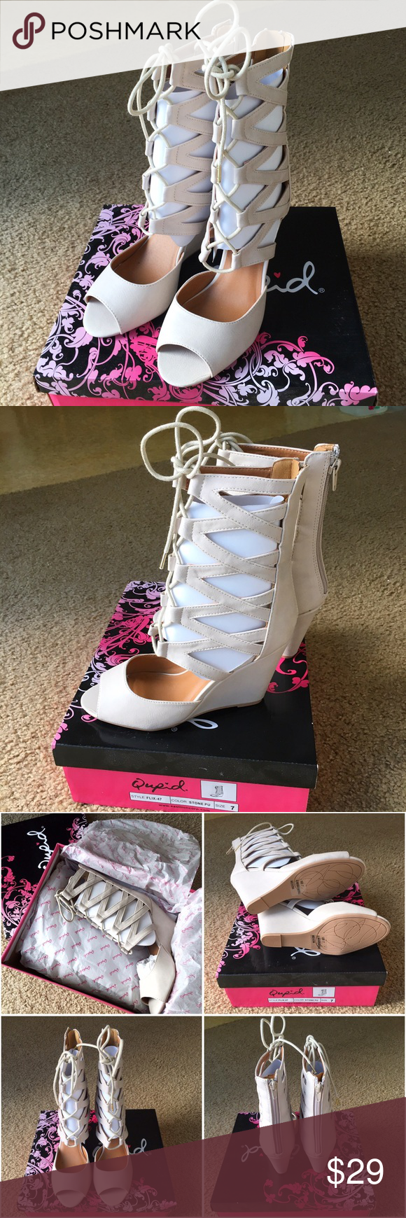 🎉Sale🎉Qupid Peep Toe Lace Up Gladiator Wedge Qupid Peep Toe Lace Up Gladiator Wedge. NWT. Color Stone. Size 7. 🎉1 Day Sale. Price is Firm.🎉 Qupid Shoes Wedges