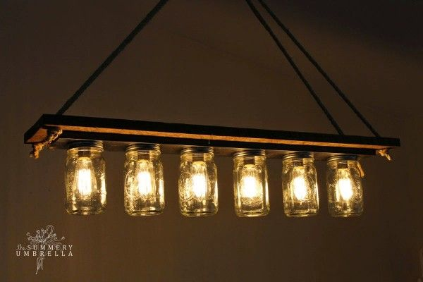 From a bathroom light. rustic wood mason jar chandelier tutorial - The  Summery Umbrella featured on