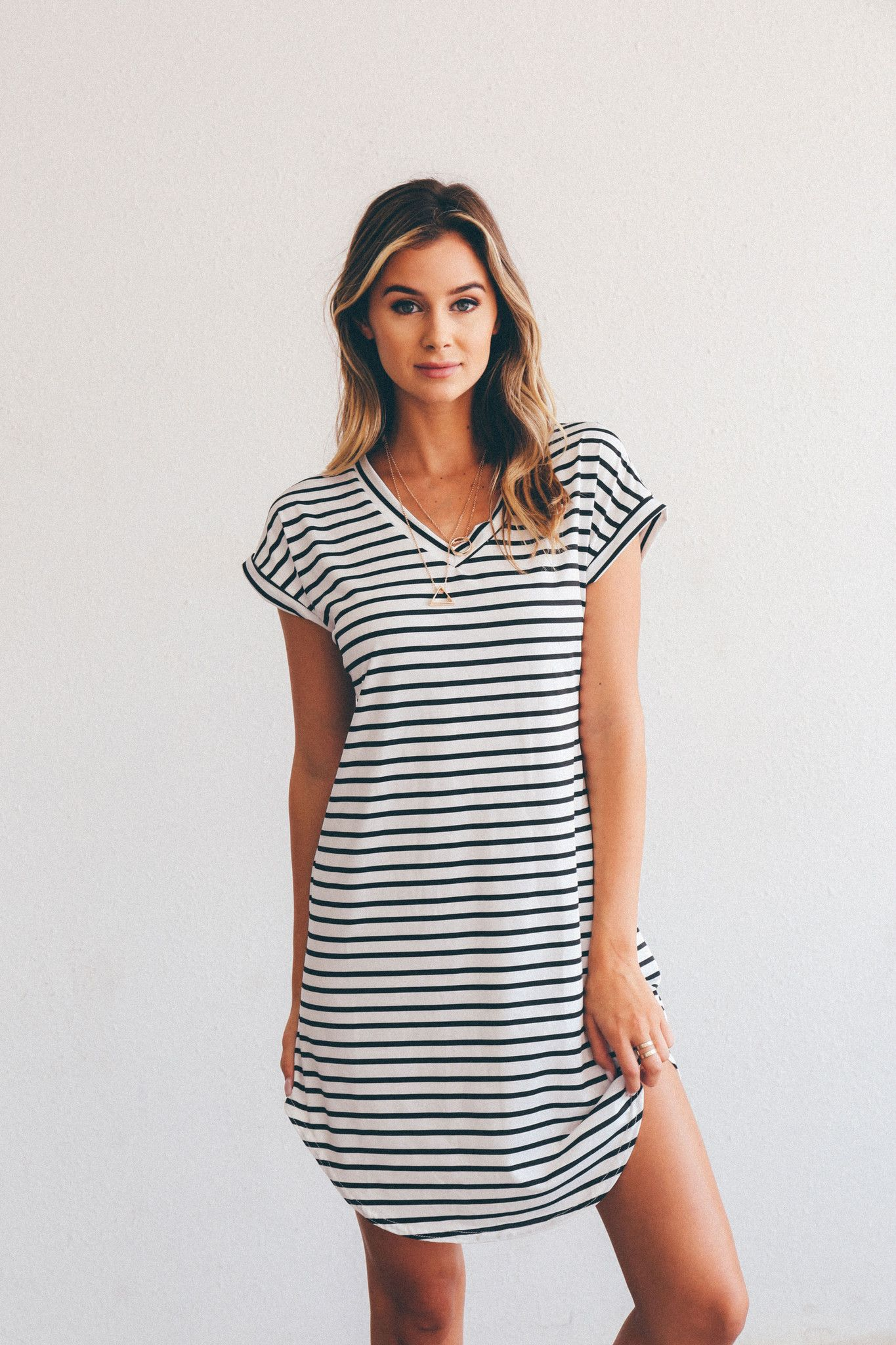 Riley Stripe T-shirt Dress #kyliejenner #clothes #tumblr # ...
