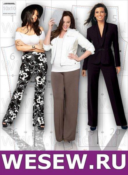 5fcf90d1ef6b Готовая выкройка женских брюк больших размеров Обхват бедер 116-122 ...