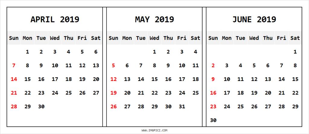 april may june 2019 calendar printable april may june rh pinterest ca