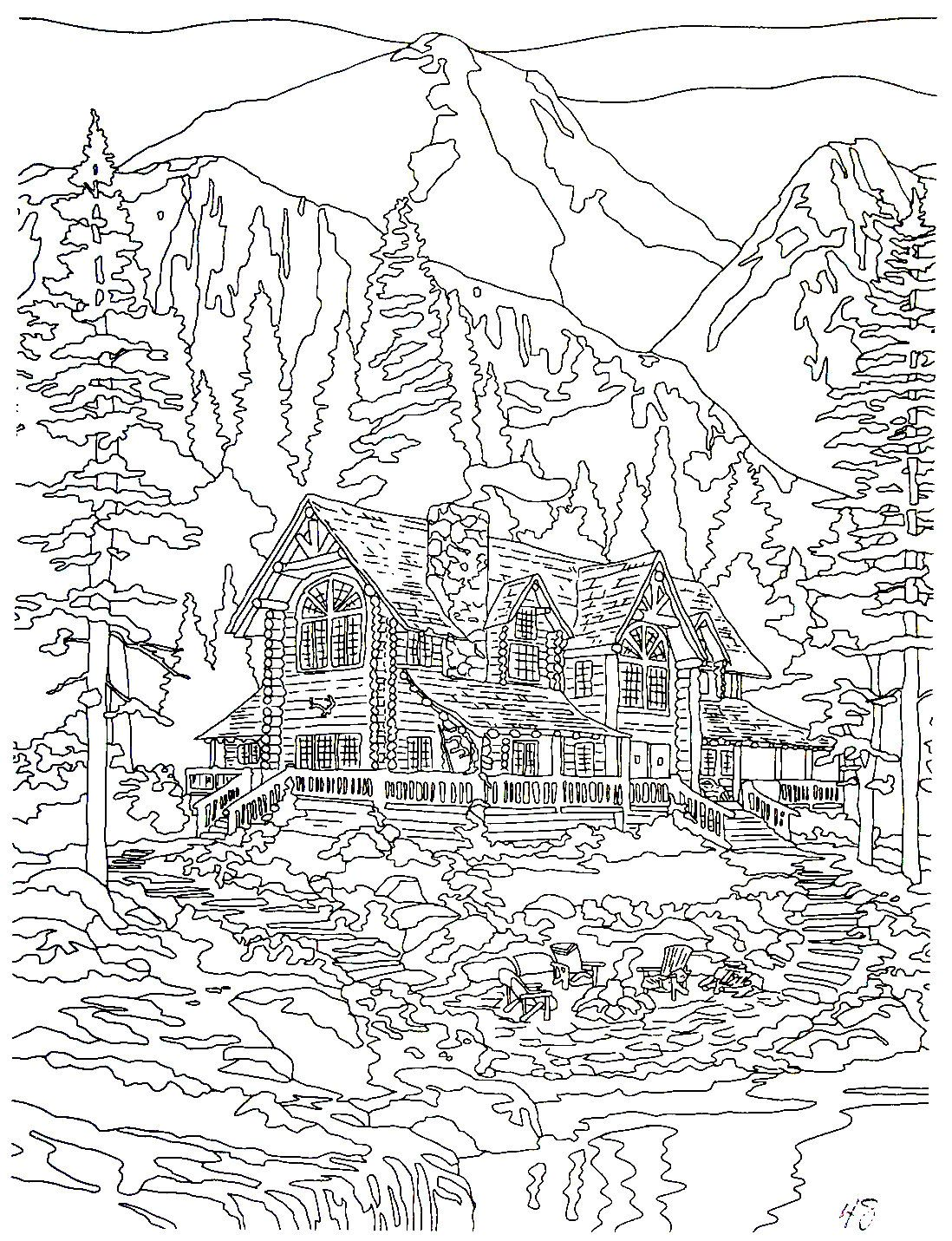 Cathedral Mountain Lodge Thomas Kinkade Painting Coloring Book Printable Page Coloring Books Fall Coloring Pages Kinkade Paintings