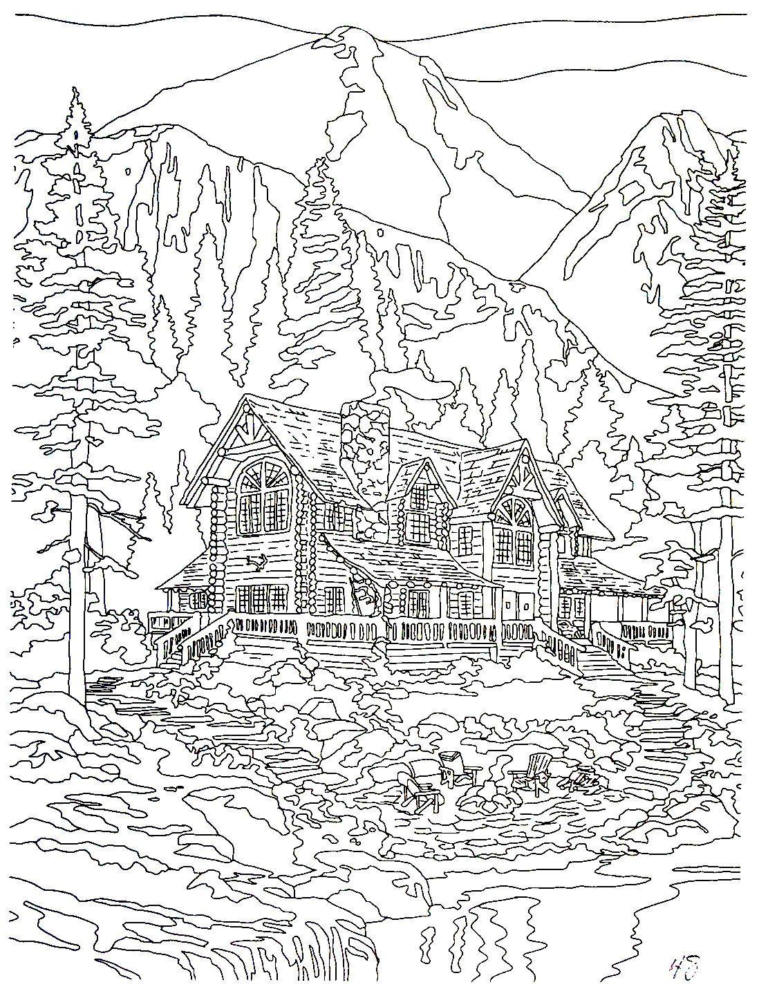 Cathedral Mountain Lodge Thomas Kinkade Painting Coloring