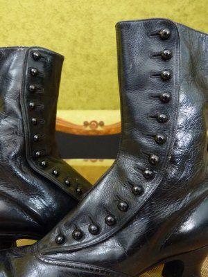 Schwarze Viktorianische Knopfstiefel, ca. 1900   Stiefel