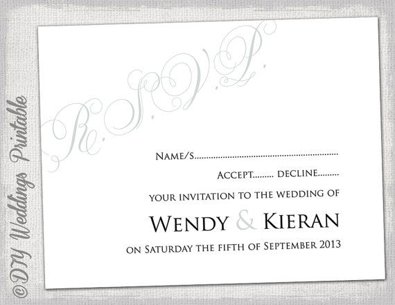 wedding rsvp template download diy silver gray calligraphy