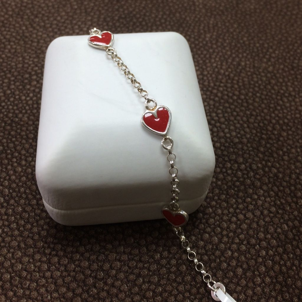 Sterling silver red heart bracelet girlsbaby sterling silver and