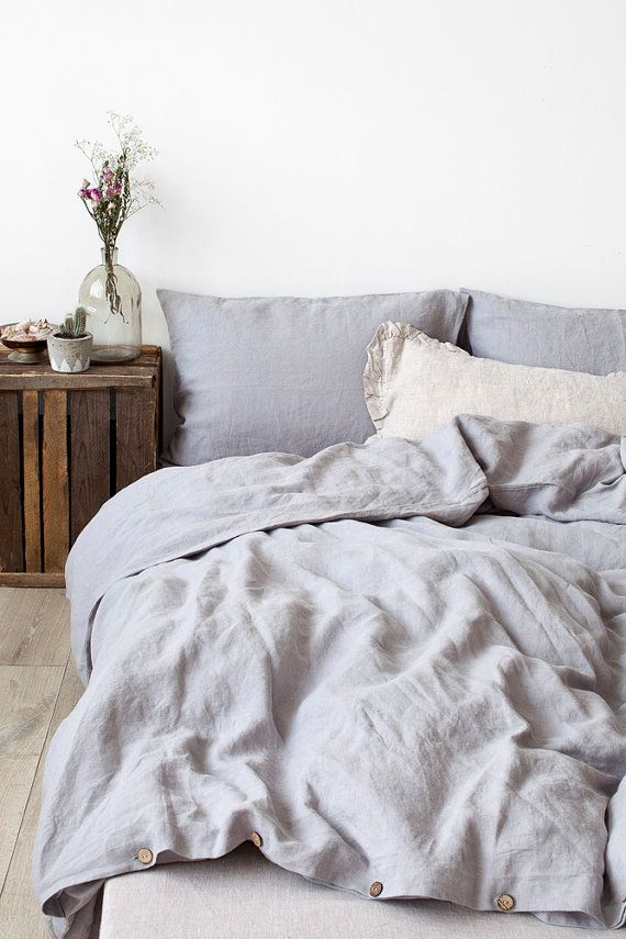 Beautiful $240 For Duvet Cover And 2 Pillowcases. US Queen Size Light Grey Linen Bed  Set