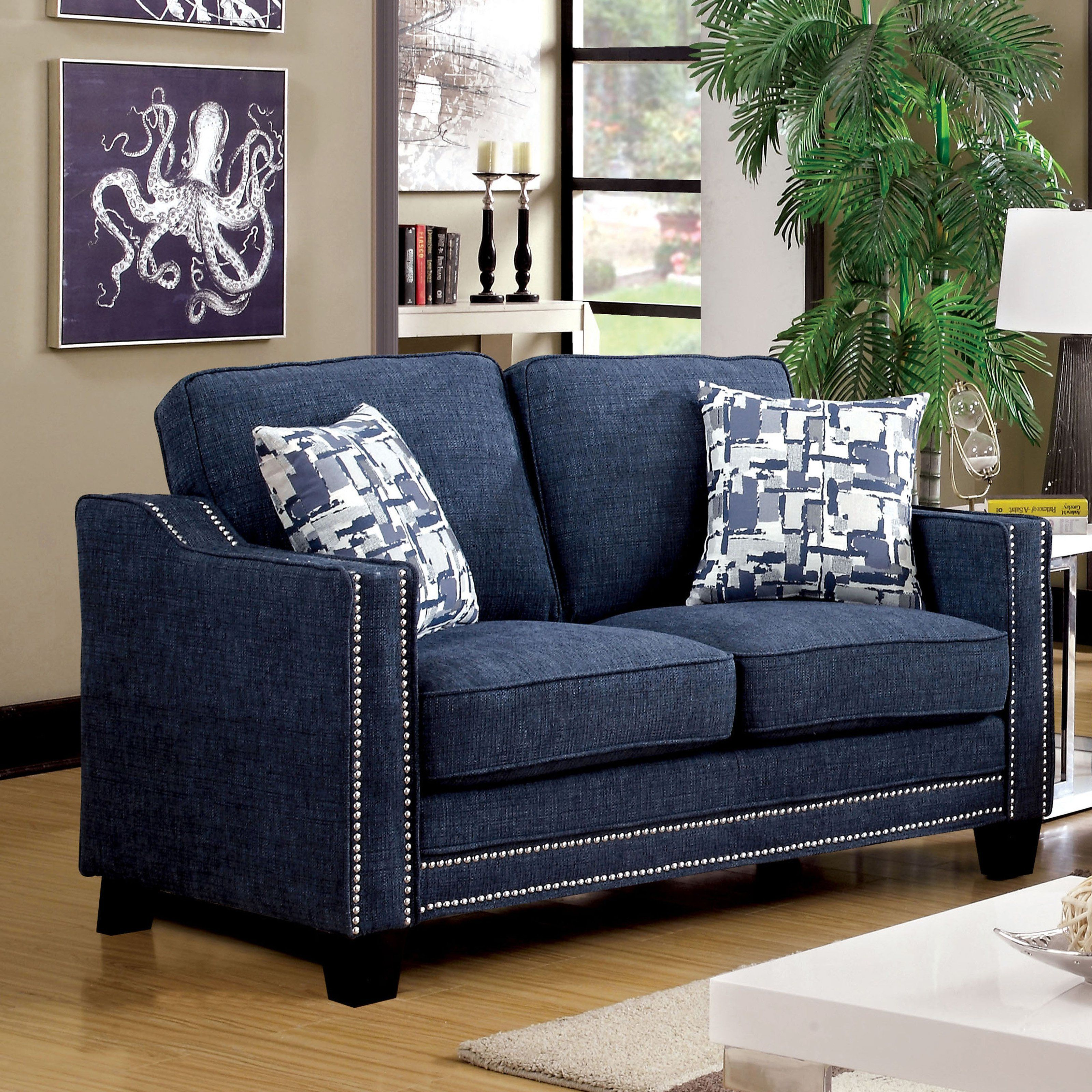 Furniture Of America Polin Studded Chenille Chair: Furniture Of America Polin Studded Chenille Loveseat With