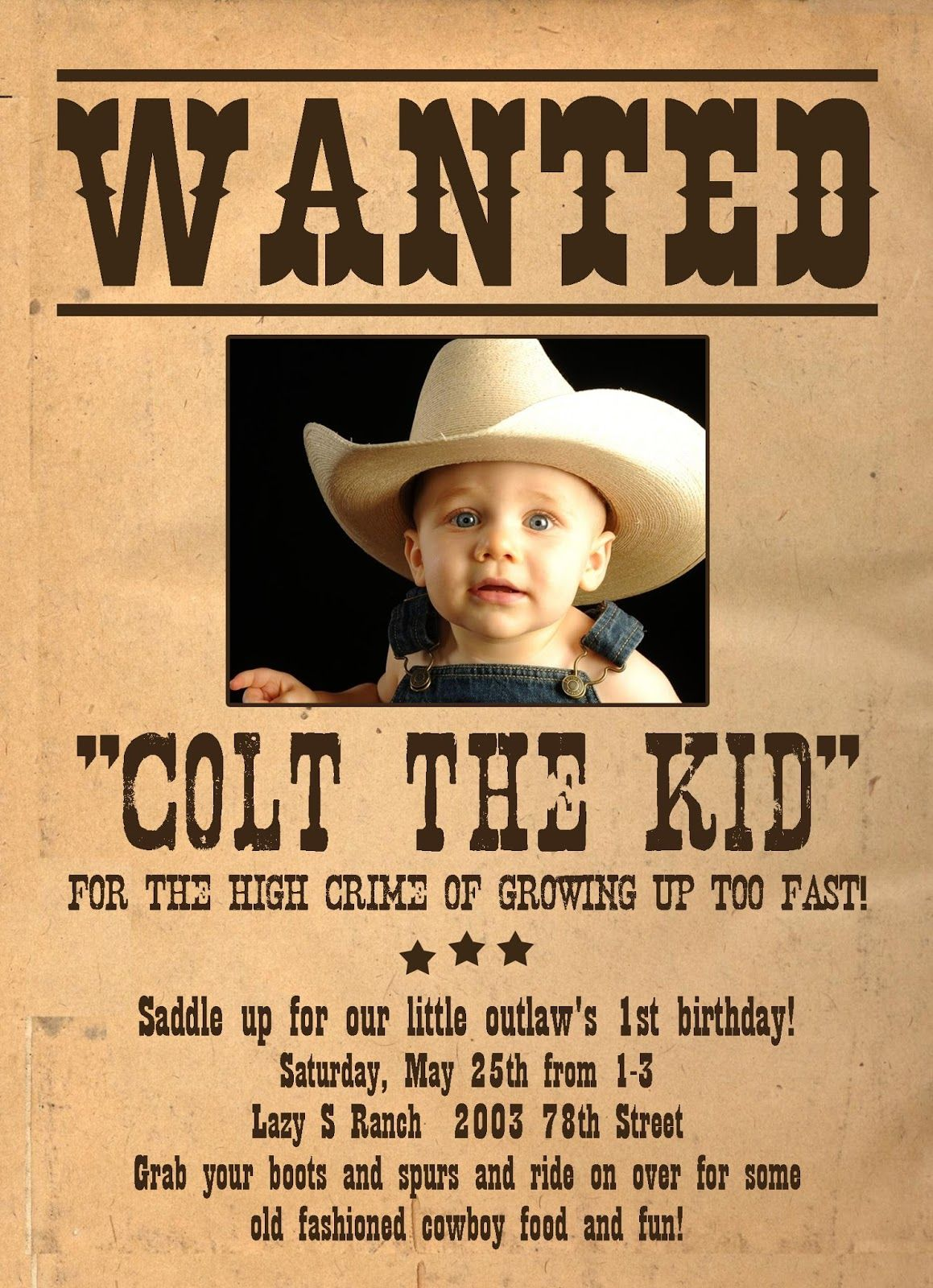 wanted poster birthday invitations - Google Search | 1st birthday ...