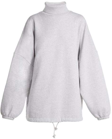 8df8aa3b9ad5c6 Balenciaga - Oversized Roll Neck Cotton Sweatshirt - Womens - Light Grey