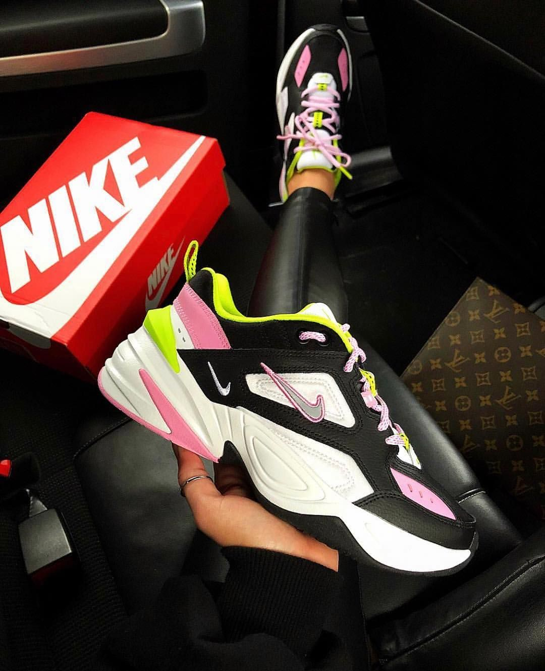 Nike M2K Tekno trainers in black and pink in 2019 | Nike